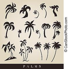 silhouettes, vecteur, palmiers