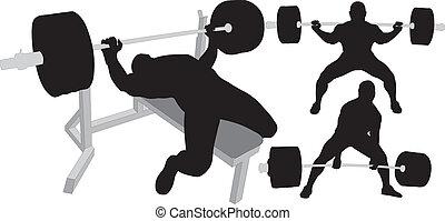 silhouettes, vecteur, powerlifting