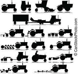 silhouettes, vecteur, tracteur