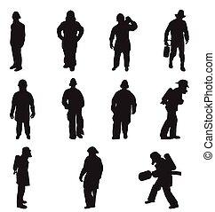 silhouettes, vider combattant
