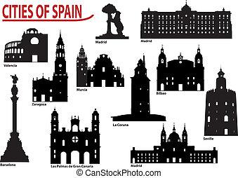 silhouettes, villes, espagne