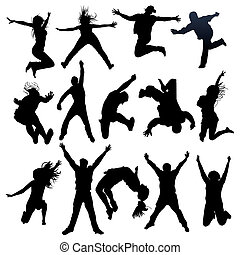 silhouettes, voler, sauter, gens