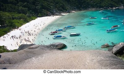 similan, trafic, touristes, bateau, îles, thaïlande