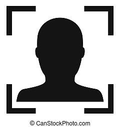 simple, électronique, figure, reconnaissance, icône, style