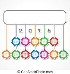 simple, 2015, calendrier, conception