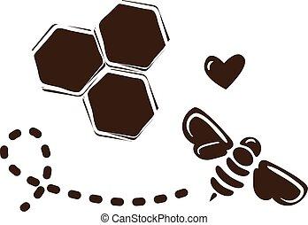 simple, abeille, conception, gabarit, logo, rayons miel