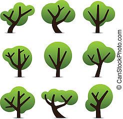 simple, arbre, icônes