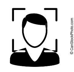 simple, biometrical, identification., icon., figure, recognition.