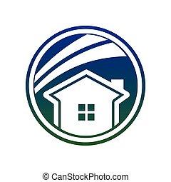 simple, bleu, cercle, maison, swoosh