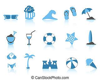 simple, bleu, icône, plage, série