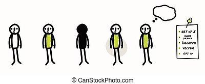 simple, bubble., 5, symbole, main, crosse, ensemble, décision, griffonnage, art, concept, idée, pensée, dessiné, considérer, isolé, stickman, pensée, signe, pose., ligne, standing., figure, icon., crayon, color., vecteur