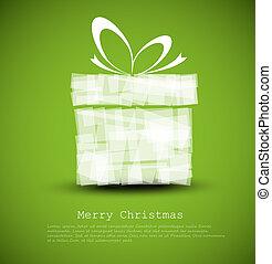 simple, carte, vert, noël don