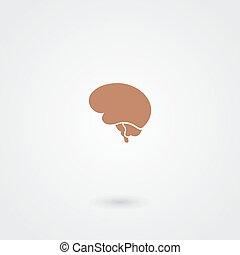 simple, cerveau, minimalistic, icône