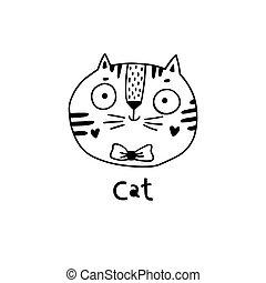 simple, chat, mignon, vecteur, figure, illustration, style., dessin animé