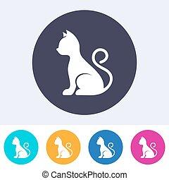 simple, chat, vecteur, icône