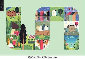 simple, choses, -, composition, maisons