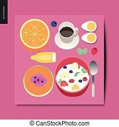 simple, choses, petit déjeuner, -, composition