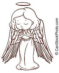 simple, croquis, prier, ange