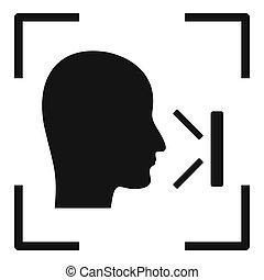 simple, figure, reconnaissance, icône, bureau, style
