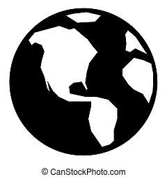 simple, globe, icône