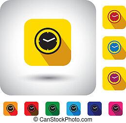 simple, heure, conception, signs., maintenant, horloge, -, long, aussi, plat, secondes, symbole, montre, icône, ombres, représente, graphique, ceci, bouton, &, présent, etc, vecteur, temps, minutes, ou