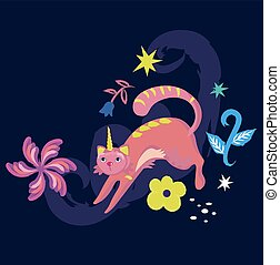 simple, illustration, chat, fond, licorne, blanc