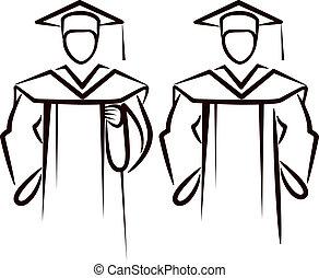 simple, illustration, diplômé