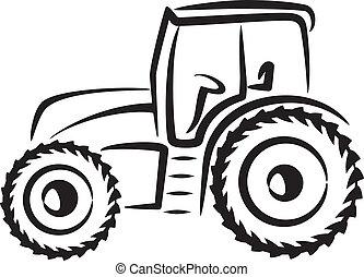 simple, illustration, tracteur