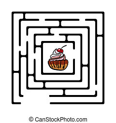 simple, labyrinthe, illustration, petit gâteau