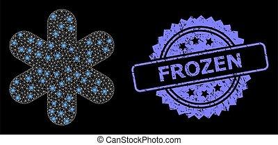 simple, lightspots, caoutchouc, filet, flocon de neige, surgelé, toile, clair, timbre
