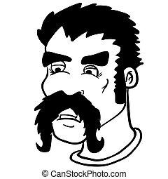 simple, moustache, blanc, noir