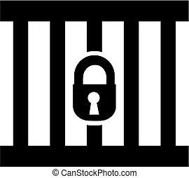 simple, prison, icône