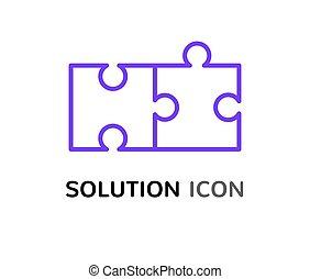 simple, puzzle, résoudre, solution, concept, conception, réunir, problème, icône
