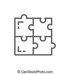 simple, résoudre, ligne, solutions, puzzle, compatibilité, icon., problème
