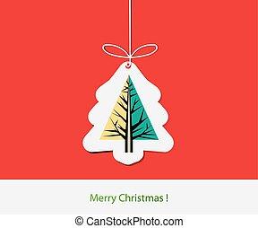 simple, résumé, arbre, pin, conception, illustration, carte