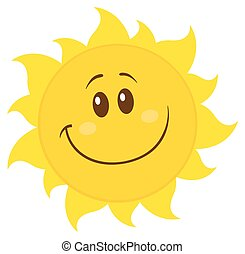 simple, soleil, sourire, jaune