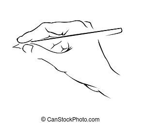 simple, symbole, écriture main