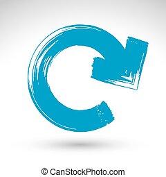 simple, vectorized., signe, balayé, encre, brosse, main-peint, bleu, multimédia, isolé, fond, dessiné, blanc, vrai, reprise, mise jour, main, symbole., créé, rafraîchir, icône, navigation