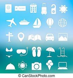 simple, voyage, ensemble, vecteur, icône