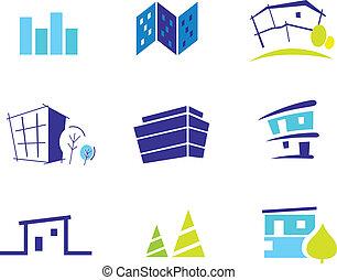 simplicity., illustration., nature, inspiré, moderne, collection, maisons, vecteur, icône