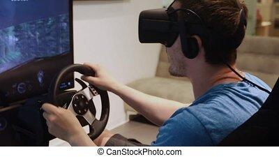 simulateur, voiture, vr, usages, homme, lunettes