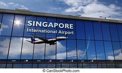 singapour, atterrissage, reflété, terminal, avion