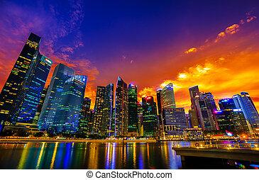 singapour, coucher soleil, horizon ville