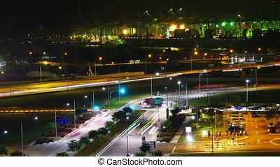 singapour, port, nuit