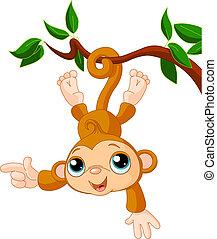 singe, bébé, projection, arbre