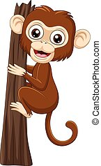 singe, branche arbre, bébé, escalade, dessin animé