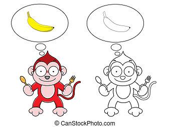 singe, dessin animé, banane