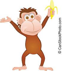 singe, dessin animé, rigolote, banane