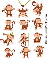 singe, heureux, ensemble, collection, dessin animé