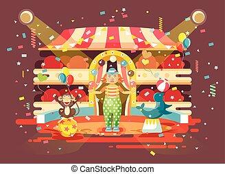singe, mer, exposition, entraîné, balles, style, exécuter, veau, caractère, animal, intérieur, performance, vide, jongleries, plat, solitaire, arène, cirque, illustration, cachet, dessin animé, chien, clown, vecteur